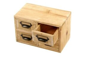 Small Cabinet Organiser 4 Drawers Rustic Wooden Desktop Storage Home Office