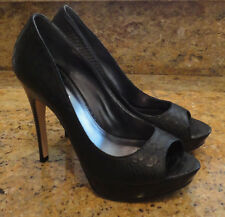 Via Spiga Elora Pumps 8 B Medium Black Leather Snake Open Peep Toes Beautiful!