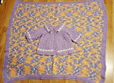 Handmade Crochet Baby Purple Sweater & Matching Multi-Color Blanket Set 3-9 Mos