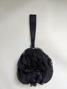 Ben De Lisi Black Ruffle Wrist Strap Bag Purple Satin Lining
