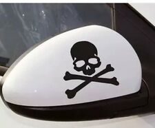 2x Black Skeleton Skull & Crossbones Vinyl Decal Sticker Car Biker motorcycle