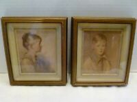 VINTAGE Pair CHARLOTTE & PETER Art Prints SHADOW BOX FRAMES Vilas-Mages CHICAGO