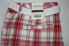 NWT ST. JOHN'S BAY Size 8 Women's Flat Front Firebrick Plaid Belted Casual Short