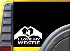 Westie Hands Heart Sticker k076 8 inch West Highland White terrier dog decal