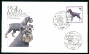 BRD FDC 1995 HUNDE MITTELSCHNAUZER DOG CHIENS CANI PERROS SOBAKI DOGS m2732