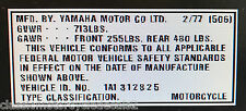 YAMAHA RD400 USA HEADSTOCK FRAME DECAL RESTORATION DECAL