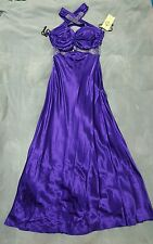Women's Purple Bridemaids Evening Long Gown Formal Party Dress Prom Size Large L
