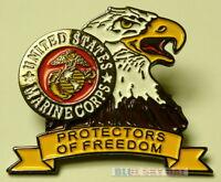 """BALD EAGLE U.S MARINE CORPS USMC PROTECTORS OF FREEDOM CAP HAT LAPEL PIN 1 1/4"""""""