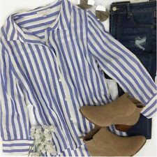 NWT  Woman's  Size S Blouse Long Sleeve Collared Striped White Blue Top Casual