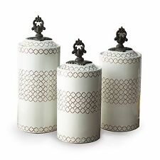 American Atelier Kitchen Set Of 3 Ceramic White Storage Canisters Jars-Lids