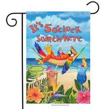 "5 O'clock Parrot Summer Garden Flag Beach Humor 12.5"" x 18"" Briarwood Lane"