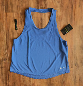 Nike Performance Miler Breathe Lauftank Damen Tanktop Blau Gr L AJ8139-458 SALE