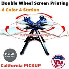 4 Color 4 Station Double Wheel Screen Printing Machine Press Silk Screen Printer