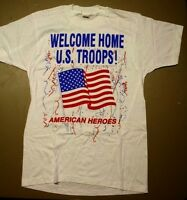 White Military Welcome Home US Troops American Heroes T-Shirt By Screen Stars L