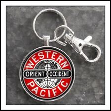 Railroad Sign Photo Keychain Western Pacific Orient Occident RR Train 🚂 🎁