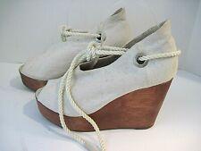OSKLEN Cream Colored Canvas Peep Toe Wedge Heels Size 37