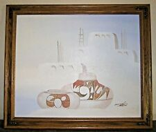 Signed oil canvas sand painting Mario Jung Southwest Pueblo Pottery Framed