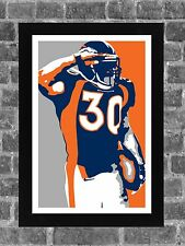 Denver Broncos Terrell Davis Portrait Sports Print Art 11x17