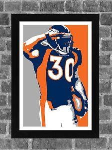 Denver Broncos Terrell Davis Portrait Sports Print Art 11x17
