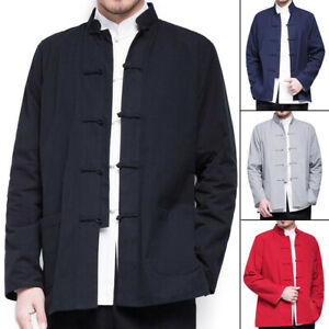 Mens Traditional Chinese Tang Suit Coat Jacket Kung Fu Martial Arts Uniform Tops