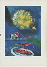"""1963 Vintage /""""FLOWERS IN MOURILLON 1926/"""" MARC CHAGALL COLOR Art Lithograph"""
