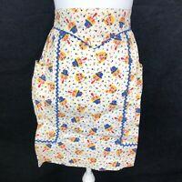 Vintage 1950s Half Waist Apron Dutch Folk Scandinavian Mid Century 2 Pockets