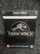 Jurassic World Fallen Kingdom 4K Ultra HD + Blu-ray 3D Steelbook. UHD. New