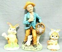 """FLAMBRO & Other Vintage Porcelain Bunny Rabbit & Man Figurines 3"""" To 6.5"""" Tall"""