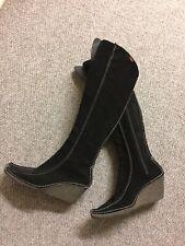 diesel WINTER Black Suede Wedge Heel Knee High Side Zip Boots Uk 4