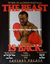 "JOHN ""THE BEAST"" MUGABI vs. DUANE THOMAS  / Original Onsite Boxing Fight Poster"