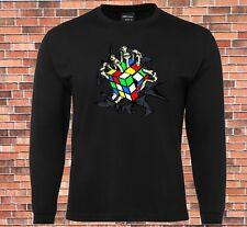 JB's Long Sleeve Black T-shirt Rubiks cube scary skeleton New Design