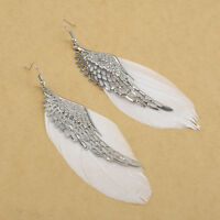 New Popular Angel Wing Feather Dangle Long Earring Women Chandelier Drop Earring