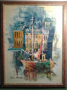 Colorful LUIGI FRATELLO Framed 12 x 16 Signed Art Colorful Oil on Canvas Sailing
