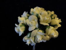 "Vintage Millinery Flower 3/4"" Rose Yellow 12pc Lot for Hat Wedding + Hair C26"