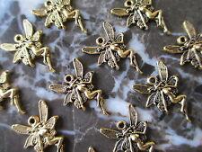12 Petite Golden Wicca Fairie Fairy Goddess Charms Pendants-Hippie