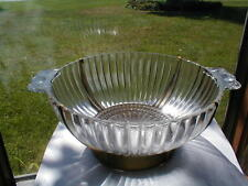 Anchor Hocking Clear Depression Glass Ribbed Handled Bowl w Metal Carrier/Holder