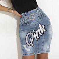 By Alina Mexton Jeansrock Jeans Minirock Jeansmini High-Waist Rock Print XS-M