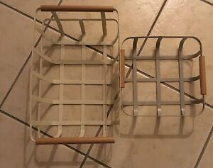 2 Metal Baskets Tk Maxx Grey And Beige Wooden Handle