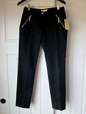 $130 MICHAEL MICHAEL KORS Sz 6 New Navy Front Angle Zip Pockets Casual PANTS NWT