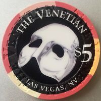 $5 Venetian Casino Chip - The Phantom of the Opera - Las Vegas - Venice - RARE