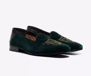 NIB Gucci Marmara Green Velvet Embroidered Slip-On Loafers 7.5EU/8.5US $1250.00