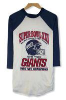 Vtg New York Giants NFL 87 Super Bowl XXI Mens Single Stitch Raglan T-Shirt L/XL