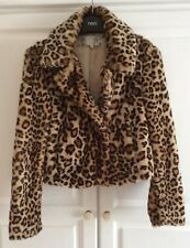 Ladies Womens Girls NEW LOOK Faux Fur Leopard Animal Print Jacket Coat Size 10