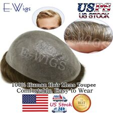 Invisible Mens Hair Replacement Ultra Thin Skin Toupee Poly Hairpiece PU Systems