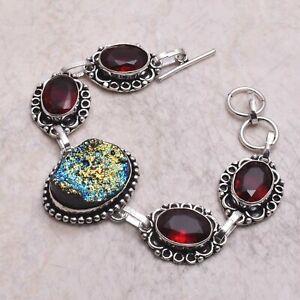Titanium Druzy Garnet Ethnic Handmade Bracelet Jewelry 22 Gms AB 61132
