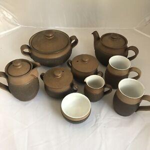 Vintage Denby Cotswold Brown Pottery Bundle Casserole Teapot Mugs Pots x 9   B11