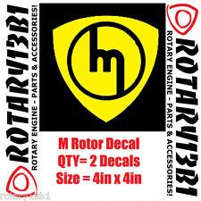 ROTOR DECALS STICKER ROTARY ENGINE RX7 RX2 RX8 REPU WANKEL POWER YELLOW 2pc