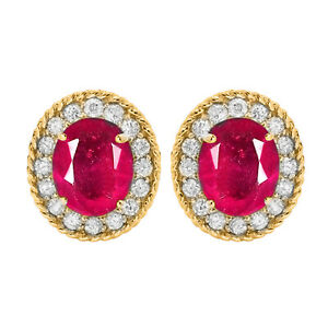 2.40Ct Natural Burmese Ruby With IGI Certified Diamond Studs In 14KT Yellow Gold