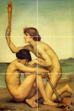 12 x 18 Art Phosphorus and Hesperus Nude Mural Ceramic Bath Backsplash Tile #827
