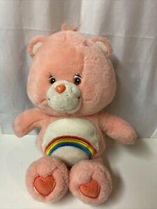 "2002 Care Bears Pink Cheer Bear Rainbow 13"" Plush Stuffed Animal Toy"